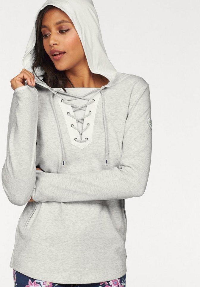 KangaROOS Kapuzensweatshirt mit Schnürung am Ausschnitt in offwhite-meliert