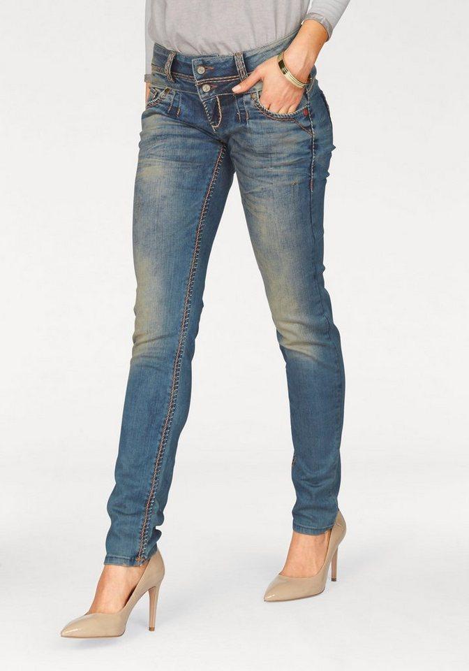 Cipo & Baxx Straight-Jeans Kontrastfarbene Nähte in blue-stone