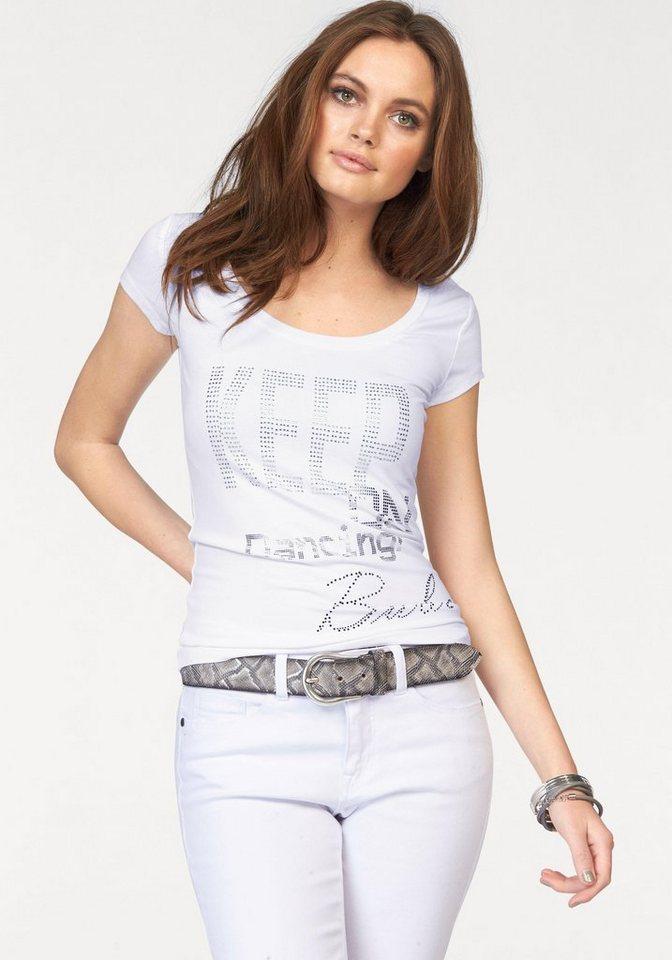 Melrose T-Shirt mit Glanz-Print in weiß-silberfarben