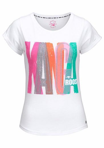 KangaROOS T-Shirt, mit Print in Neonfarben