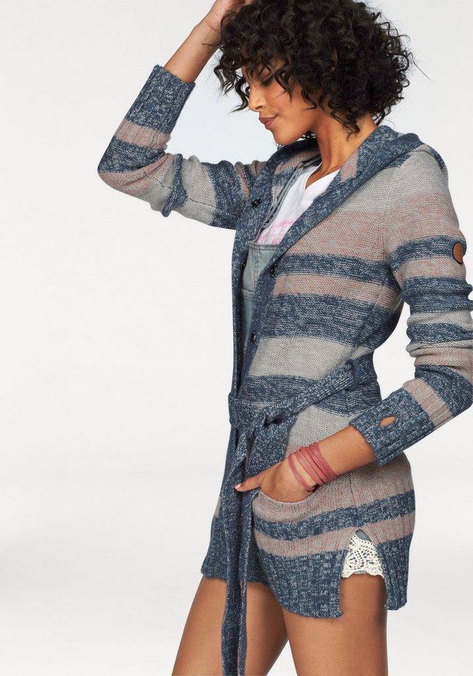 KangaROOS Kapuzenstrickjacke im Streifen-Look in grau-rosa-blau