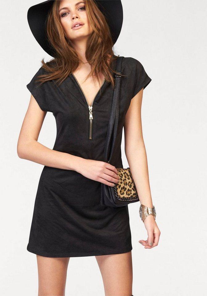Melrose Jerseykleid in Velours-Qualität in schwarz