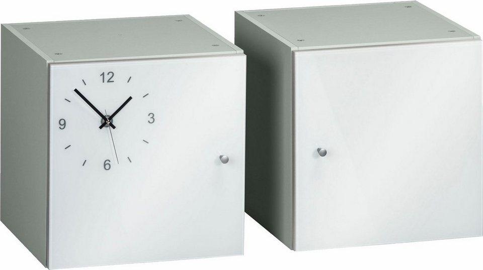 Maja Möbel Würfel-Einsatz »Rocks« (2er-Set), Front aus Weißglas mit Uhr in grau/Weißglas