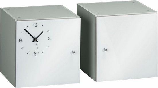 Maja Möbel Würfel-Einsatz »Rocks« (2er-Set), Front aus Weißglas mit Uhr