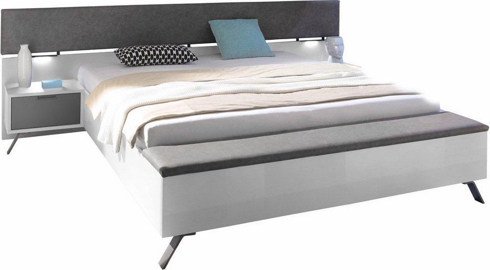LC Bett mit integrierter Fußbank in weiß Hochglanz, anthrazit Kunstleder