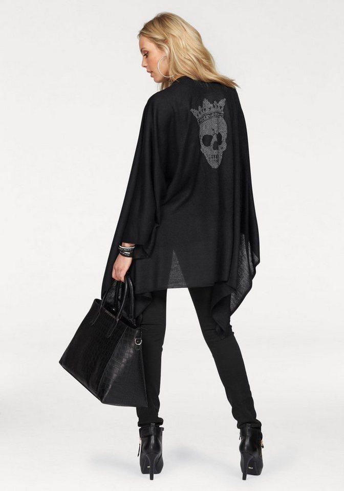 J. Jayz Modeschal Poncho mit Totenkopf in schwarz-silberfarben