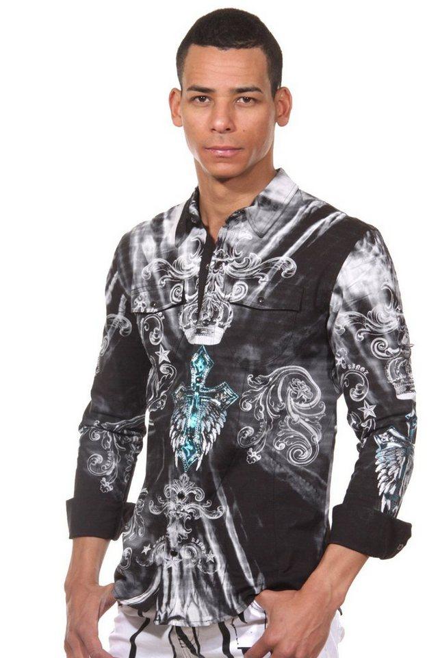 KINGZ Langarmhemd in schwarz