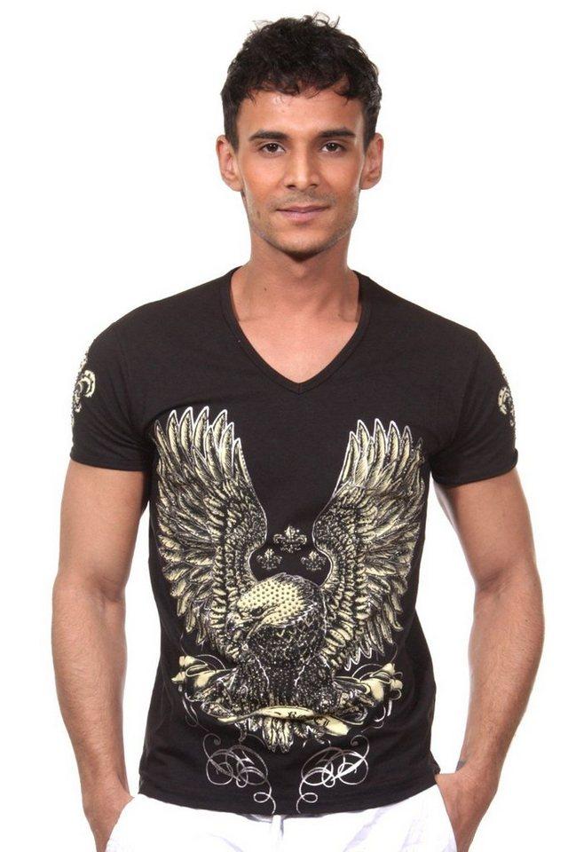 KINGZ T-Shirt V-Ausschnitt in schwarz