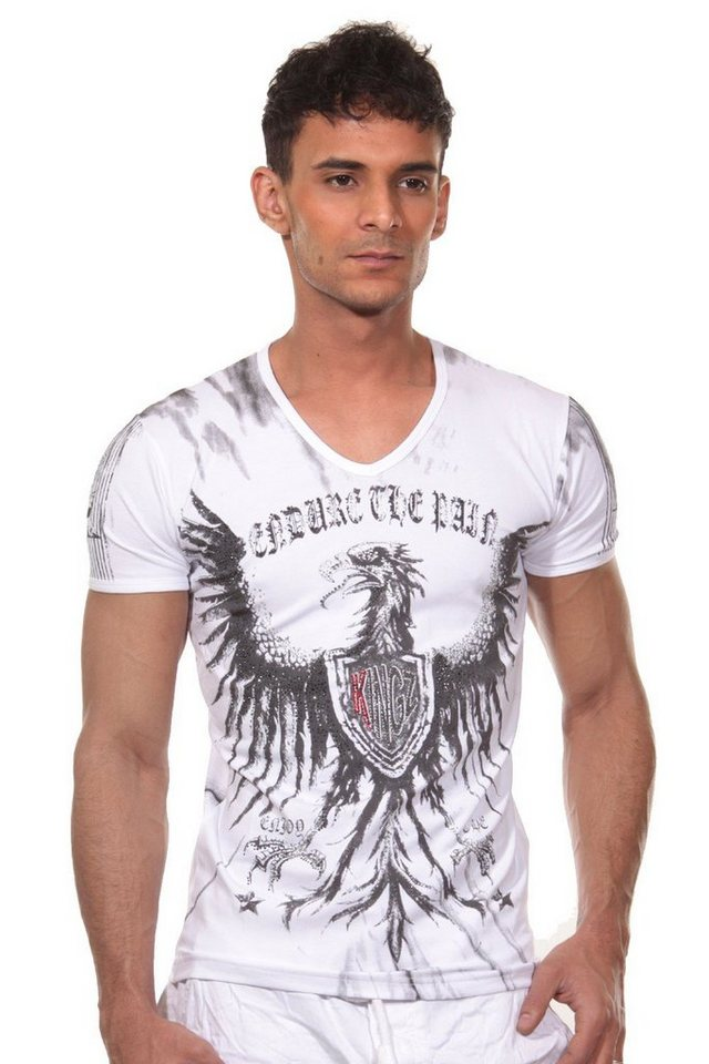 KINGZ T-Shirt V-Ausschnitt in weiss