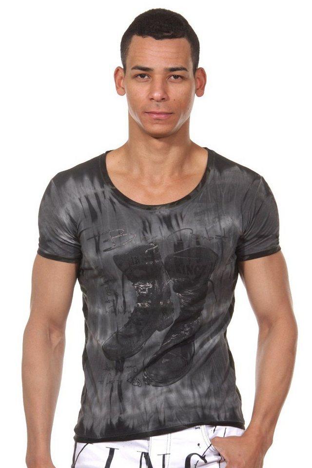 KINGZ T-Shirt Rundhals in schwarz