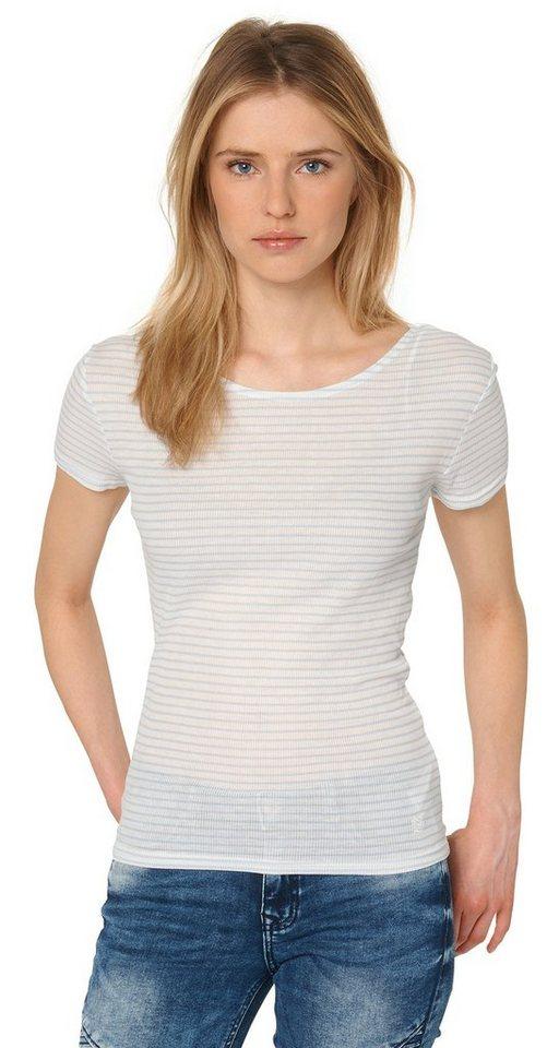 TOM TAILOR DENIM T-Shirt »Ripp-Shirt mit Rückenausschnitt« in light powder blue