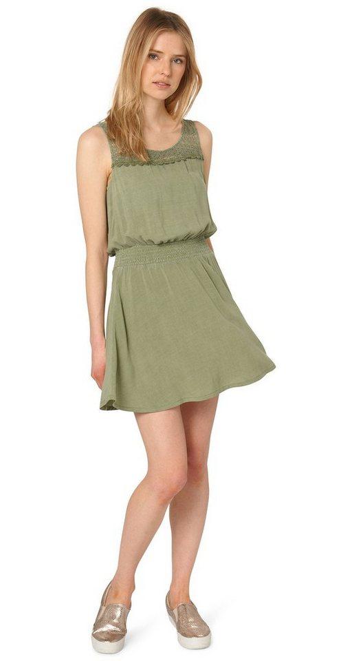 TOM TAILOR DENIM Kleid »luftiges Kleid mit Spitzen-Detail« in herbal tea green
