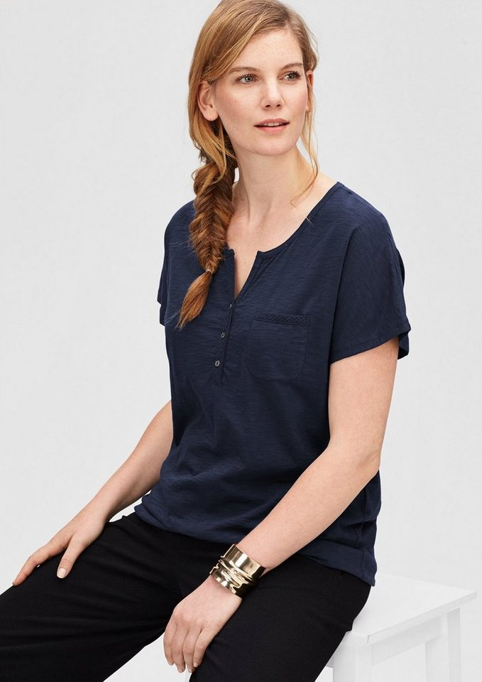 TRIANGLE Flammgarn-Shirt mit Knopfleiste in blue
