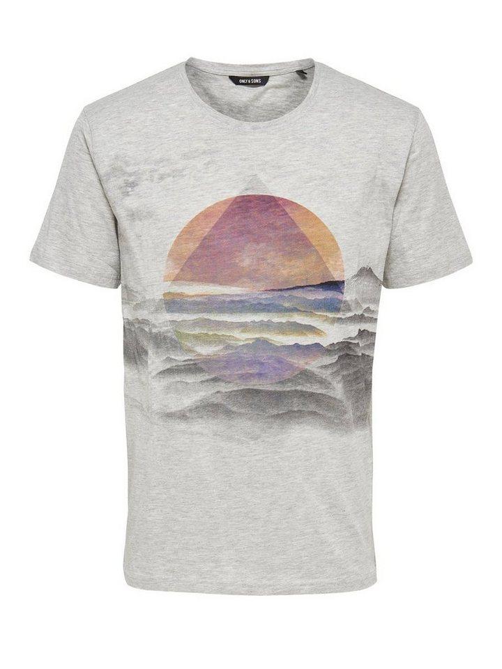 ONLY & SONS Bedrucktes T-Shirt in Light Grey Melange