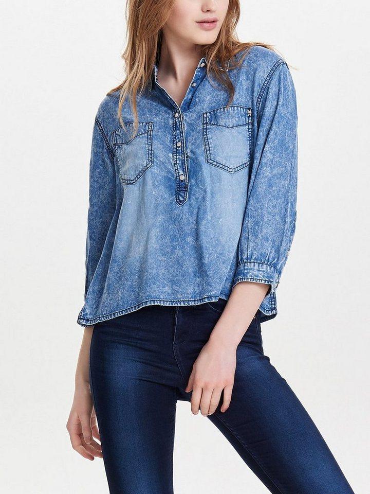 Only Kurz geschnittener Jeanshemd in Medium Blue Denim