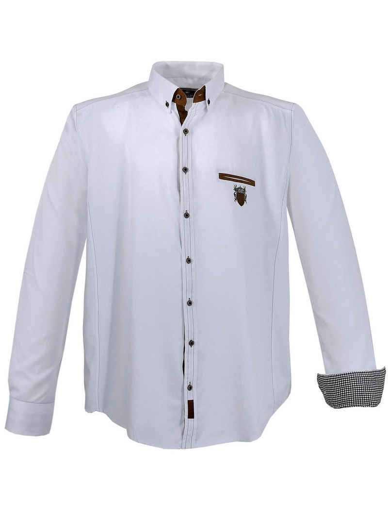 Lavecchia Langarmhemd »Übergrößen Herren Hemd 1980« Herrenhemd mit Farbkontrasten