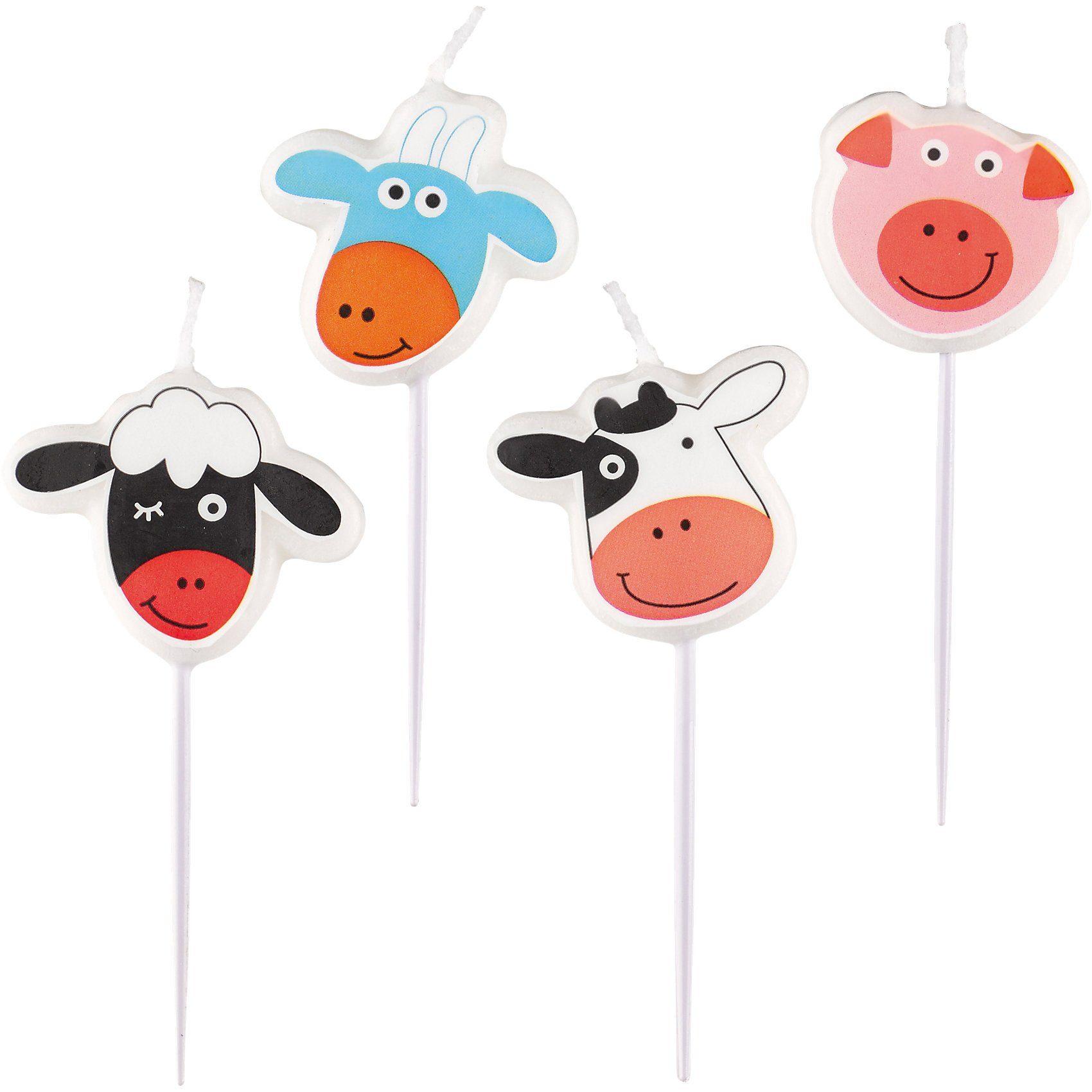 Amscan Mini-Figurenkerzen Farm Fun, 4 Stück
