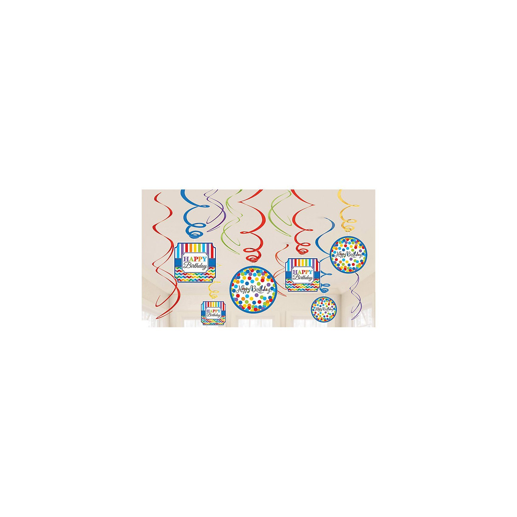 Amscan Deko Spiralen Bright Birthday, 12 Stück