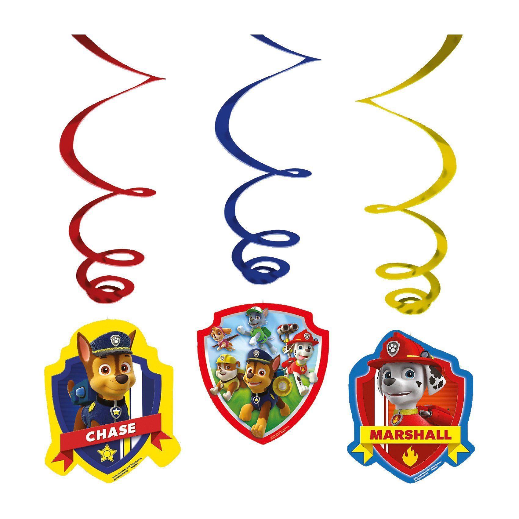 Amscan Deko-Spiralen Paw Patrol, 6 Stück