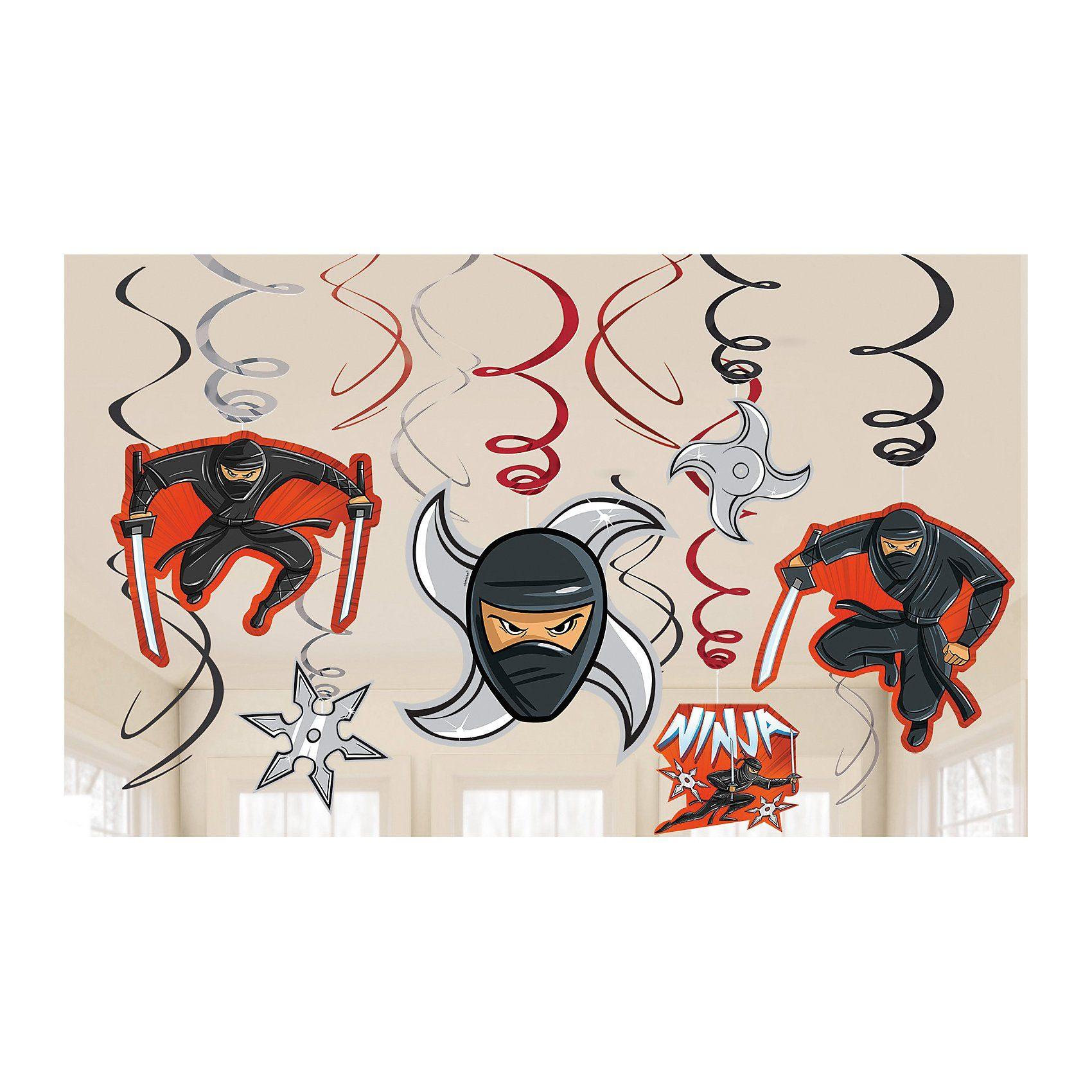 Amscan Spiralen Deko Ninja, 12 Stück