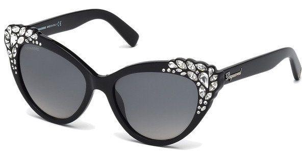 Dsquared² Damen Sonnenbrille » DQ0168« in 05B - schwarz/grau