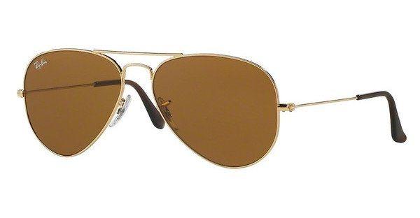 RAY-BAN Herren Sonnenbrille »AVIATOR LARGE METAL RB3025« in 001/33 - gold/braun