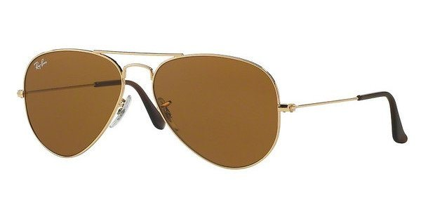 RAY-BAN Sonnenbrille »AVIATOR LARGE METAL RB3025« in 001/33 - gold/braun