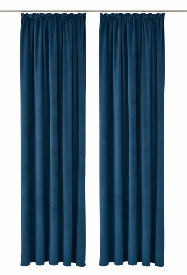 Vorhang, Bruno Banani, »Venlo«, mit Kräuselband (2 Stück) in blau