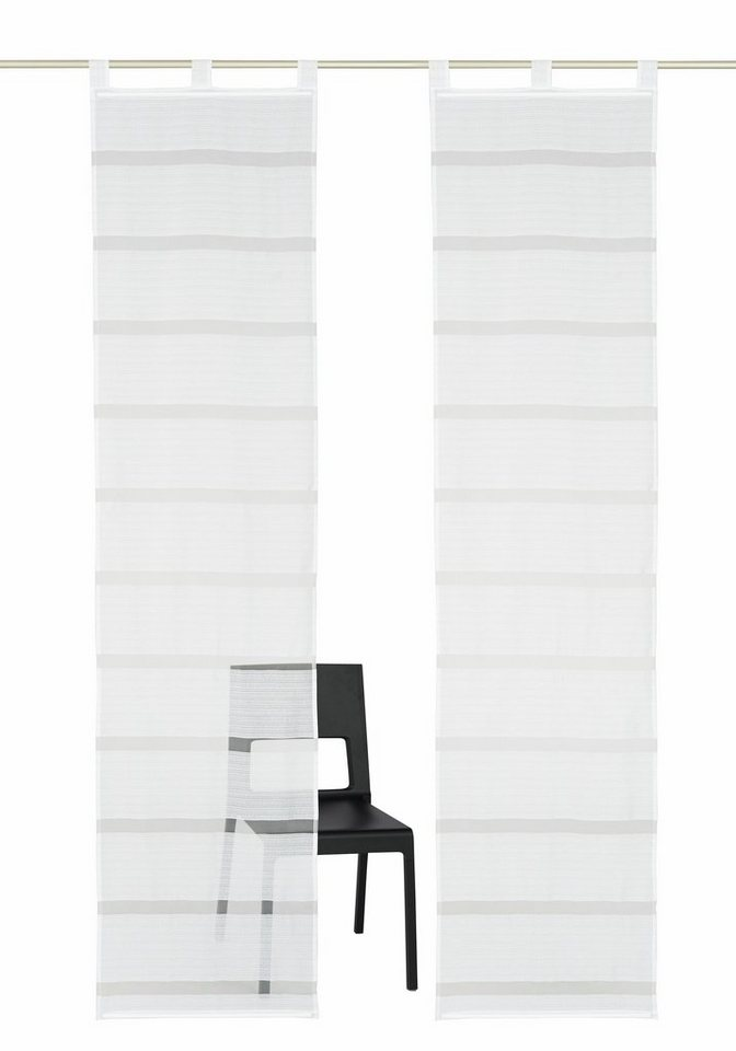 Schiebegardine, my home, »Simla« (2 Stück mit Zubehör) in weiß-weiß