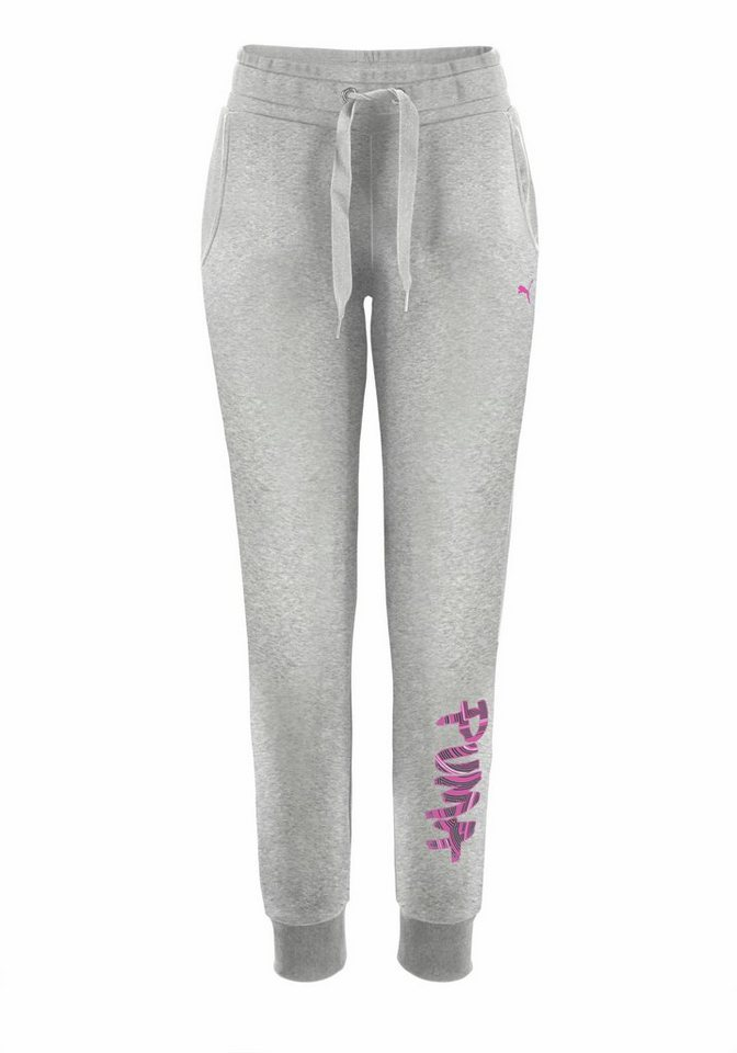 PUMA FUN LOGO PANTS Jogginghose in Grau-Meliert