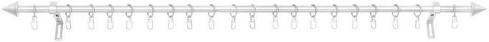 Gardinenstange, Lichtblick, »Kegel«, ausziehbar, ø 13/ mm und ø 16/20 mm, 1-läufig im Fixmaß in silber