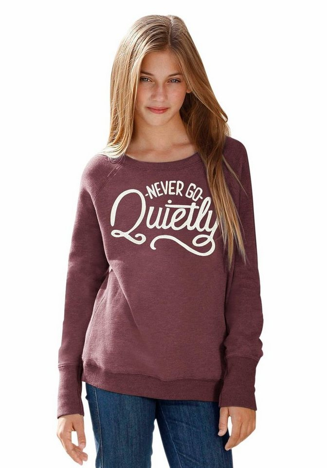 Arizona Sweatshirt mit Druck vorn in bordeaux-meliert