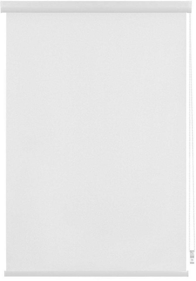 Seitenzugrollo, Lichtblick, »Klebfix mit Kassette Thermo«, Verdunkelung/Energiesparend, Fixmaß in weiss