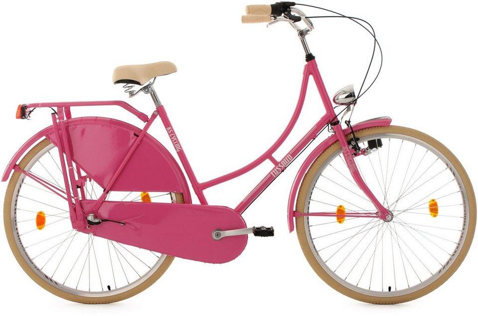 KS Cycling Hollandrad, 28 Zoll, pink, 3-Gang-Shimano-Nexus-Nabenschaltung, »Tussaud« in pink