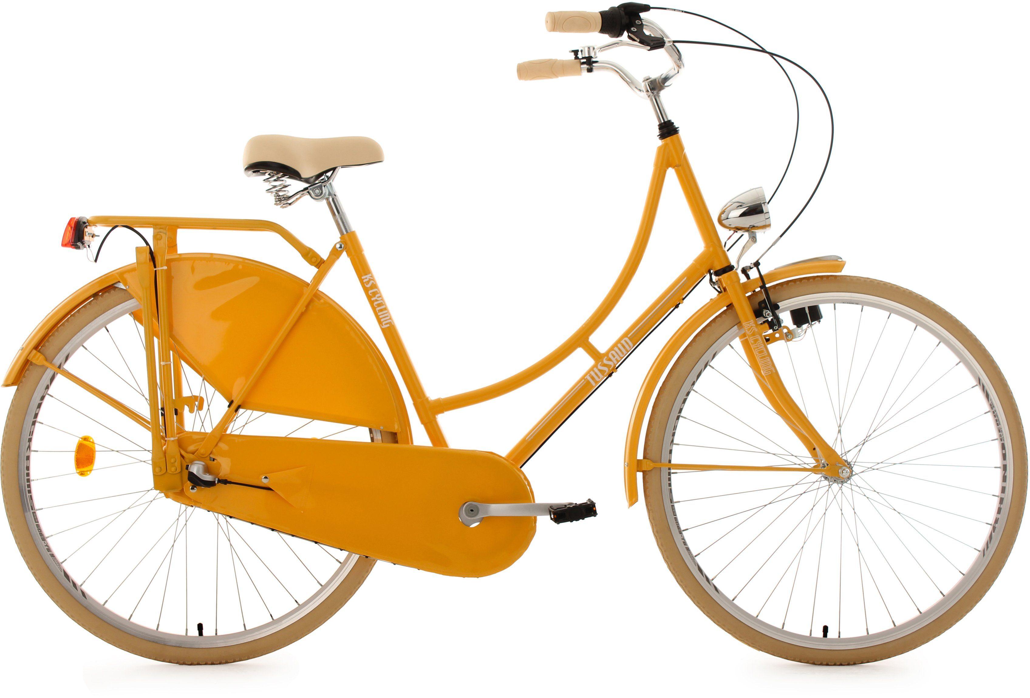 KS Cycling Hollandrad, 28 Zoll, gelb, 3-Gang-Shimano-Nexus-Nabenschaltung, »Tussaud«