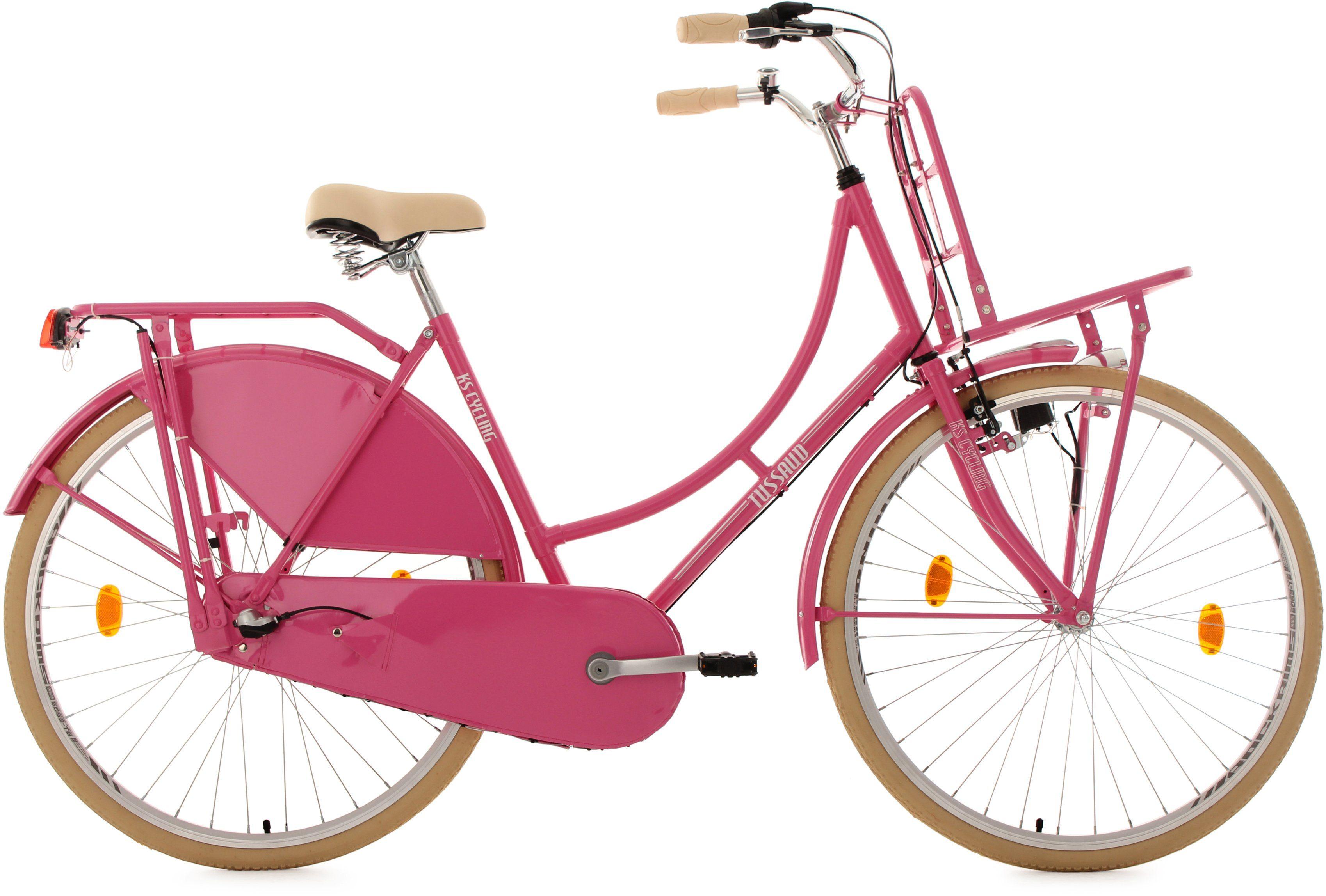 KS Cycling Hollandrad mit Lastenträger, 28 Zoll, pink, 3-Gang-Shimano-Nexus-Schaltung, »Tussaud«