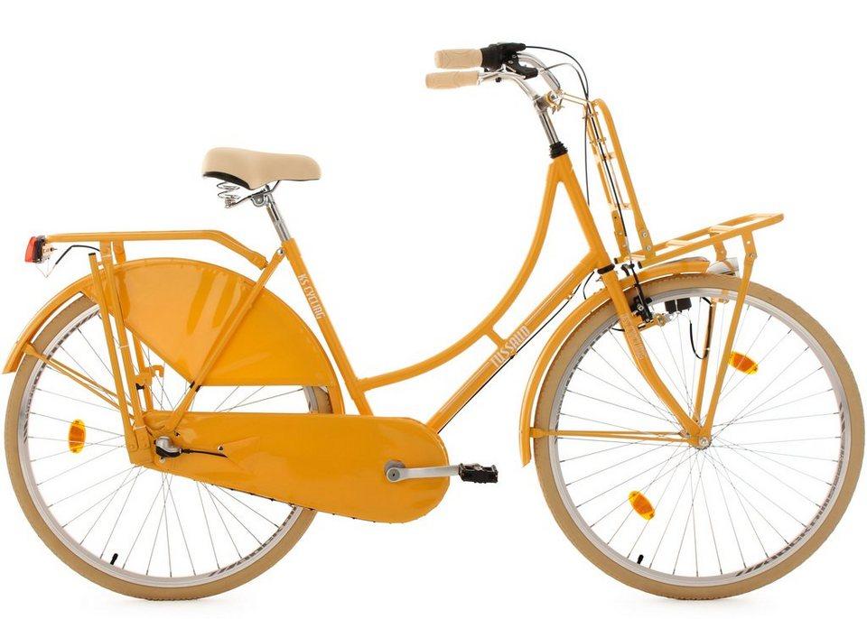 KS Cycling Hollandrad mit Lastenträger, 28 Zoll, gelb, 3-Gang-Shimano-Nexus-Schaltung, »Tussaud« in gelb