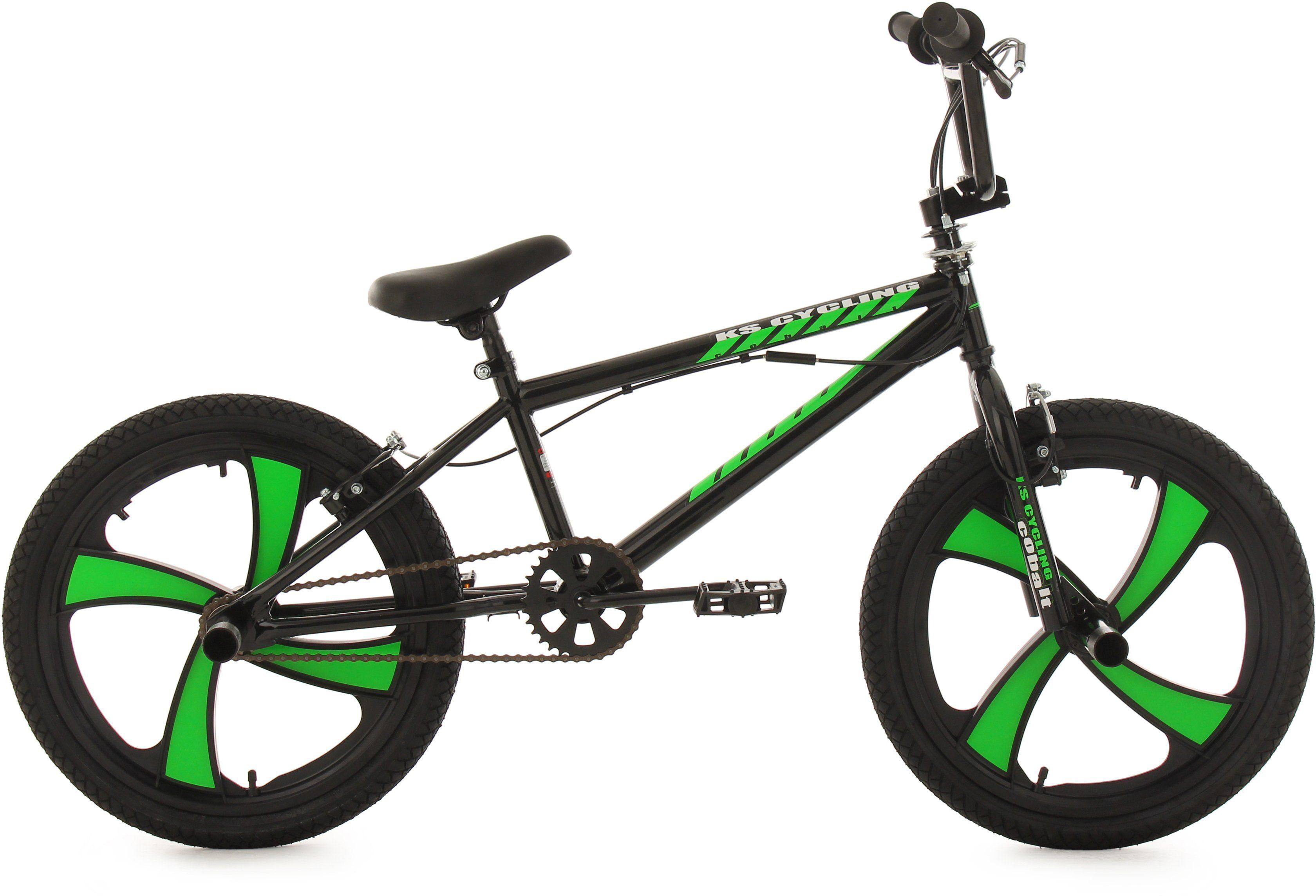 KS Cycling BMX Fahrrad, 20 Zoll, schwarz-grün, »Cobalt«