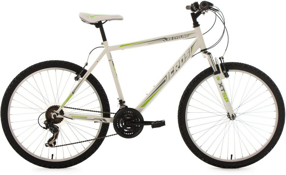 KS Cycling Hardtail-Mountainbike Herren, 26 Zoll, 21 Gang-Shimano Tourney Kettensch., »Icros« in weiß-grün