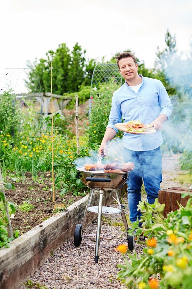 Holzkohlegrill »JAMIE OLIVER Sizzler One BBQ« inkl. XL Jamie Oliver Thermometer in silberfarben