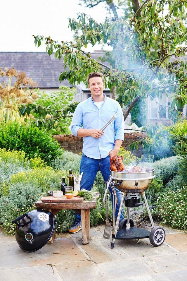 Holzkohlegrill »JAMIE OLIVER Sizzler premium BBQ« inkl. XL Jamie Oliver Thermometer in silberfarben