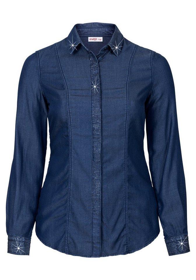 sheego Style Hemdbluse aus Lyocell in blue Denim