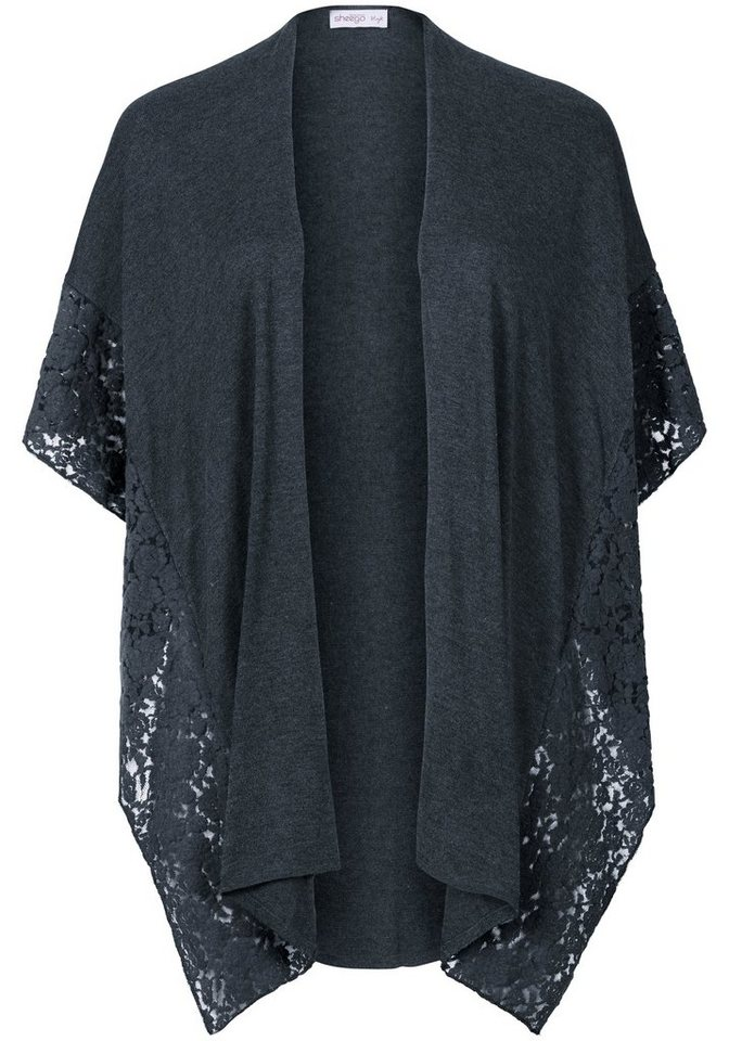 sheego Style Poncho mit Spitze in anthrazit meliert