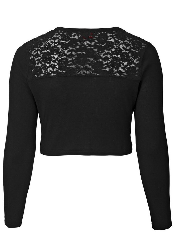 sheego Style Strick-Bolero mit Spitze in schwarz