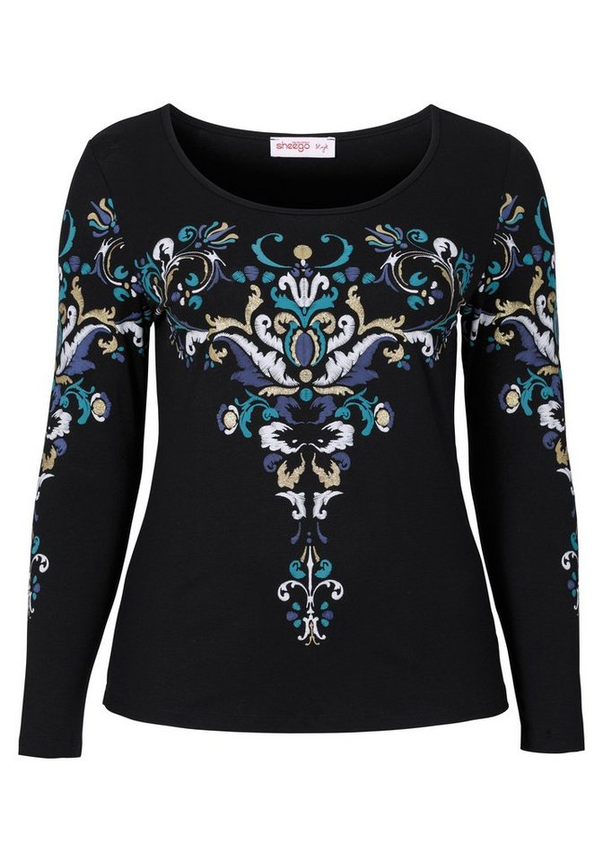 sheego Style Langarmshirt mit Ornament-Druck in schwarz