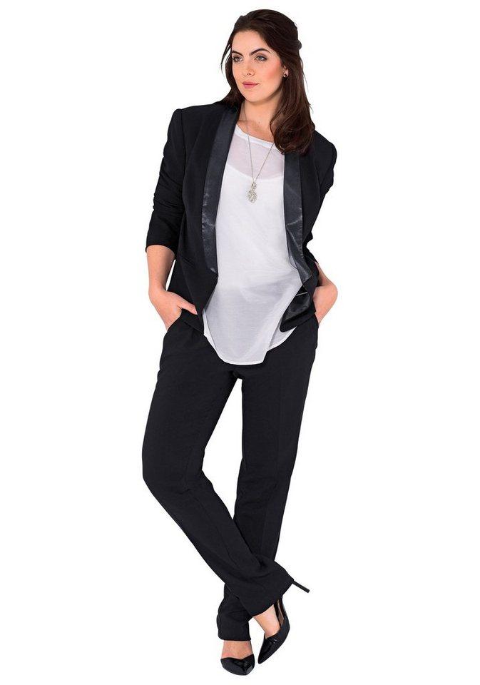 sheego Class Schmale Stretch-Hose mit Bügelfalte in schwarz