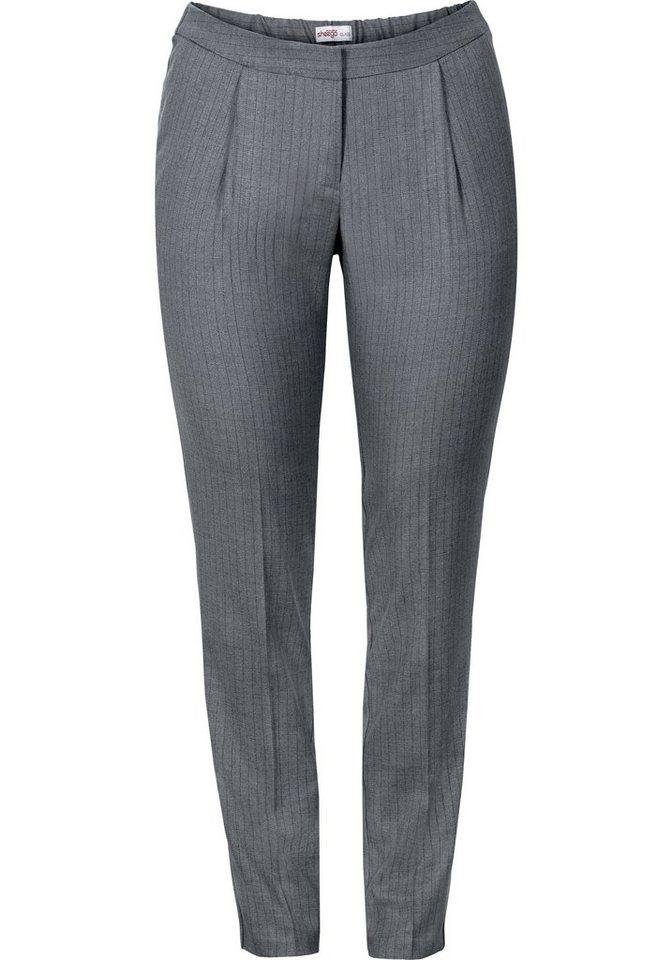 sheego Class Schmale Stretch-Hose mit Streifen in grau-blau gestreift