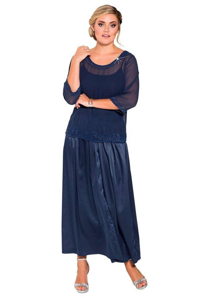 sheego Style Abendrock mit Falten in indigo