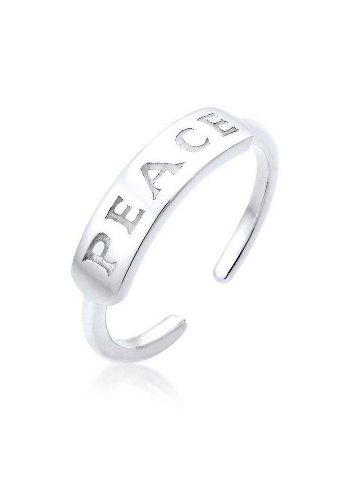 Elli Ring »Peace-Schriftzug Statement 925 Silber« in Silber