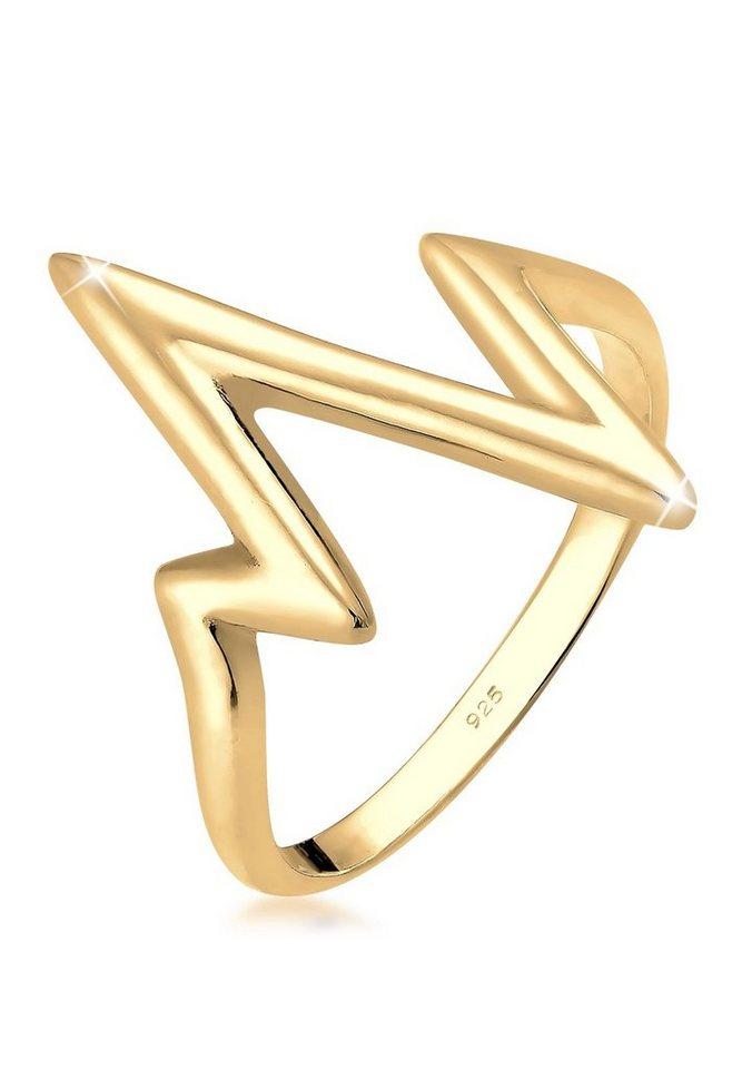 Elli Ring »Geo Herzschlag 925 Silber vergoldet« in Gold